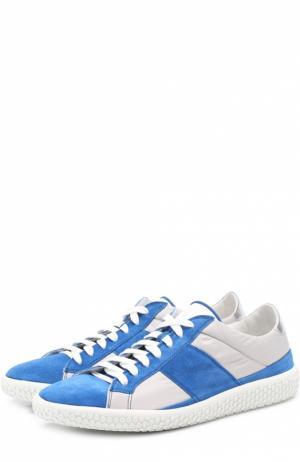 Комбинированные кеды на шнуровке подошве с декором O.X.S.. Цвет: синий
