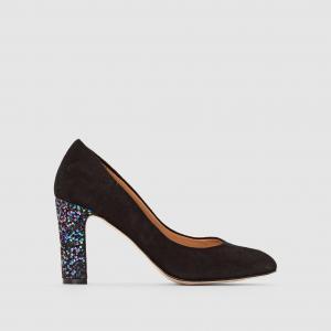 Туфли-лодочки из велюра Anne, блестящий каблук MELLOW YELLOW. Цвет: черный