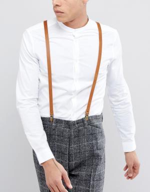 New Look Коричневые кожаные подтяжки. Цвет: коричневый