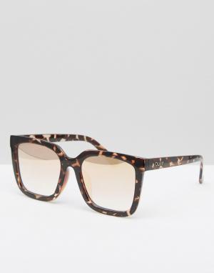 Quay Australia Эксклюзивные очки в прямоугольной оправе. Цвет: коричневый