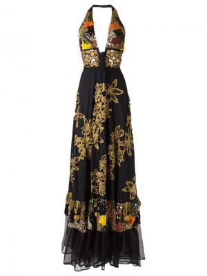 Вечернее платье с вышивкой Isabela Capeto. Цвет: чёрный