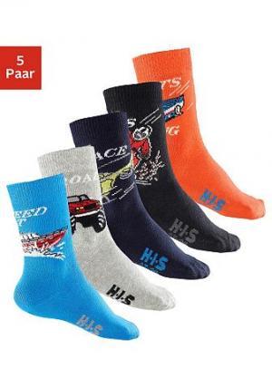 Носки для мальчиков,  (5 пар) H.I.S. Цвет: чёрный + антрацит + оранжевый + синий морской + синий