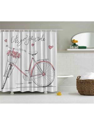 Фотоштора для ванной Вестники весны, 180*200 см Magic Lady. Цвет: розовый, белый, черный