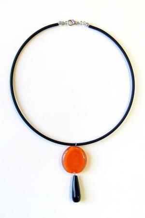 Колье Divetro. Цвет: черный, оранжевый
