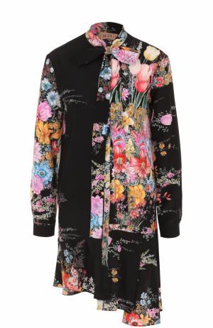 Шелковое платье асимметричного кроя с цветочным принтом No. 21. Цвет: черный