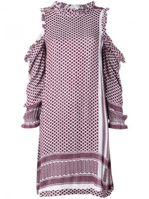 Платье с вырезными деталями на плечах Cecilie Copenhagen. Цвет: красный