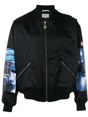 Куртка-бомбер с контрастными рукавами C.E.. Цвет: чёрный