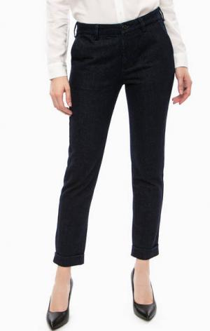 Укороченные хлопковые брюки на молнии Lee. Цвет: синий