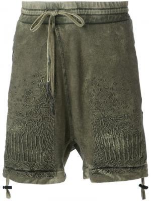 Неравномерно окрашенные шорты с вышивкой 11 By Boris Bidjan Saberi. Цвет: зелёный