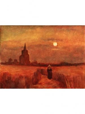 Картина поле пшеницы вечер Ecoramka. Цвет: темно-бордовый, бордовый, бронзовый