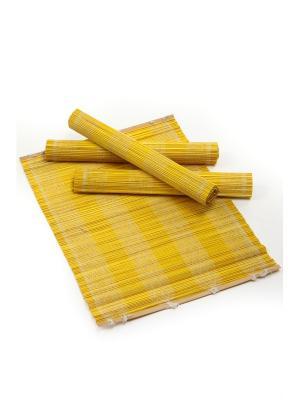 Салфетка из бамбука ,4 штук DAVANA. Цвет: желтый