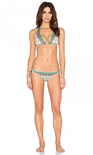 Набор бикини с t-образной шлейкой сзади и завязками Camilla. Цвет: зеленый