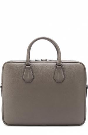 Кожаная сумка для ноутбука с плечевым ремнем Bally. Цвет: темно-бежевый