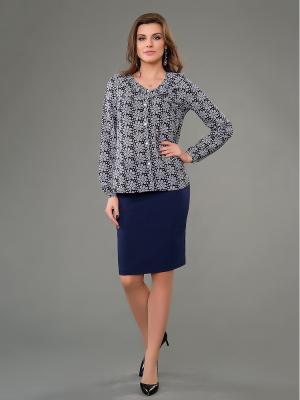 Блузка Be cara. Цвет: темно-синий, светло-серый