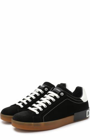 Замшевые кеды Portofino с контрастной отделкой Dolce & Gabbana. Цвет: черно-белый