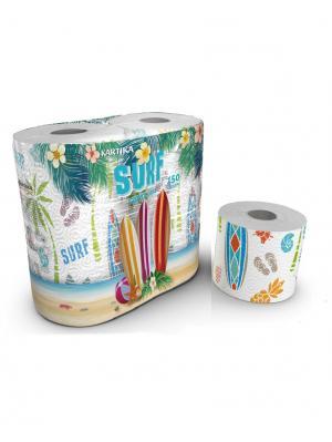 Туалетная бумага Surf серия Kartika, 3-х слойная, 4 рулона по 200 листов, 20.4 м/рулон World Cart. Цвет: белый