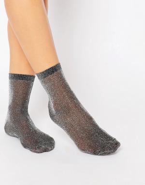 ASOS Носки с блестками. Цвет: черный