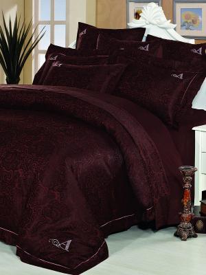 Комплект постельного белья Asabella. Цвет: темно-коричневый