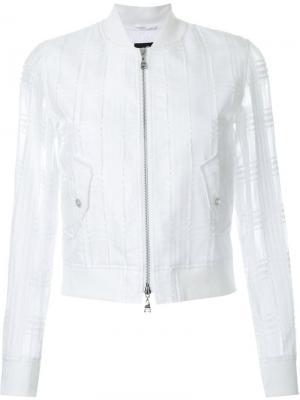 Куртка-бомбер с прозрачными рукавами Loveless. Цвет: белый