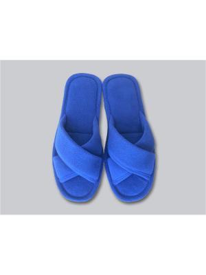 Тапочки женские с открытым носком Dream time. Цвет: синий
