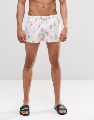 Swells Короткие шорты с принтом кактусов. Цвет: розовый