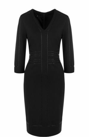 Приталенное платье-миди с укороченным рукавом Escada. Цвет: черный