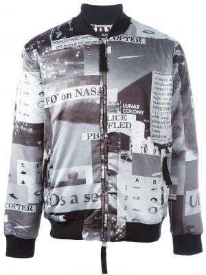 Куртка-бомбер с фото-принтом Blood Brother. Цвет: чёрный