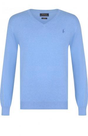 Хлопковый однотонный пуловер Polo Ralph Lauren. Цвет: голубой