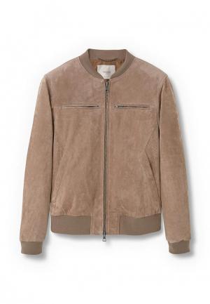 Куртка кожаная Mango Man. Цвет: бежевый