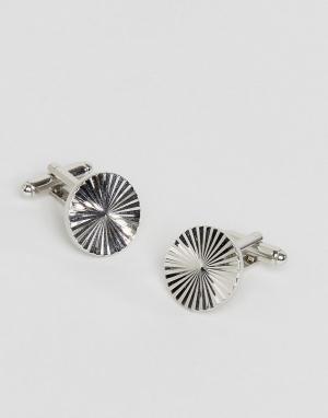 ASOS Круглые серебристые запонки. Цвет: серебряный