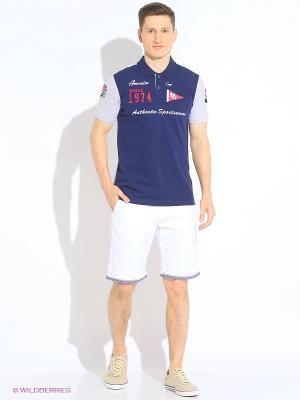 Футболка-поло U.S. Polo Assn.. Цвет: темно-синий, светло-серый