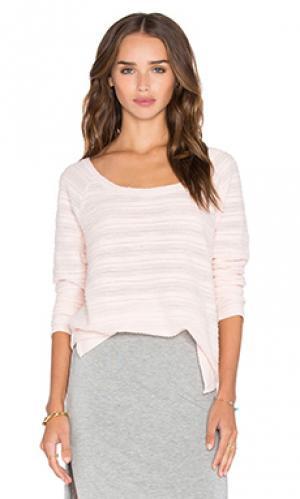 Свободный полосатый пуловер Bella Luxx. Цвет: розовый