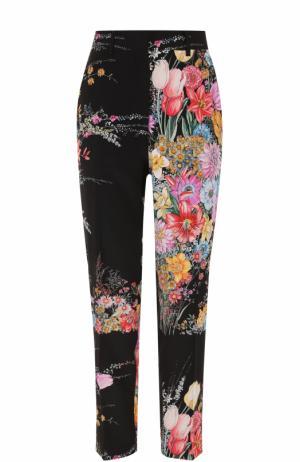 Шелковые брюки с цветочным принтом No. 21. Цвет: разноцветный