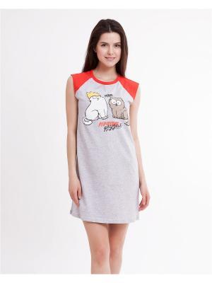 Ночная сорочка Mark Formelle. Цвет: серый меланж, красный