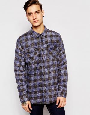 Zee Gee Why Выбеленная рубашка в синюю и черную клетку с удлиненной кромкой Ge