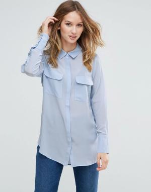Gestuz Шелковая рубашка Vega. Цвет: синий