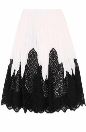 Плиссированная юбка с контрастной кружевной отделкой Oscar de la Renta. Цвет: черно-белый