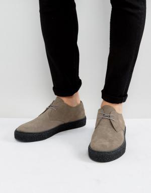 ASOS Серые замшевые дерби на шнуровке с черной подошвой. Цвет: серый
