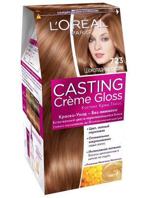 Стойкая краска-уход для волос Casting Creme Gloss без аммиака, оттенок 723, Шоколадное суфле L'Oreal Paris. Цвет: светло-коричневый