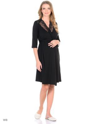 Халат для беременных Nid d'Ange. Цвет: черный