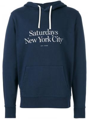 Толстовка с логотипом Saturdays Nyc. Цвет: синий