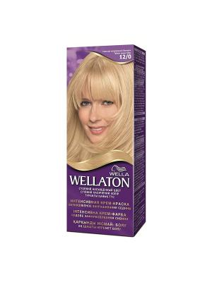 Крем-краска для волос осветляющая 12/0 Светлый натуральный блондин WELLATON. Цвет: фиолетовый