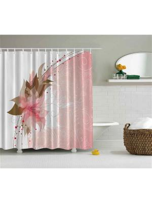 Фотоштора для ванной Японский цветок, птицы на венке, розовый букет, бабочки цветущей ветке, 18 Magic Lady. Цвет: белый, бледно-розовый, оливковый, светло-коричневый