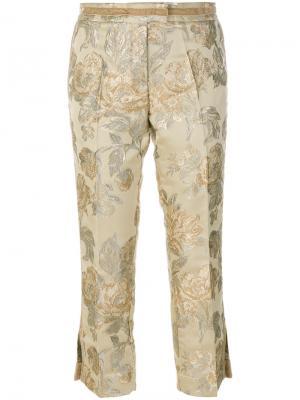 Жаккардовые классические брюки Christian Pellizzari. Цвет: телесный