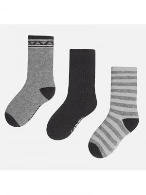 Носки, 3 пары Mayoral. Цвет: темно-серый