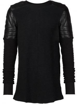 Свитер с кожаными заплатками на плечах Ada + Nik. Цвет: чёрный