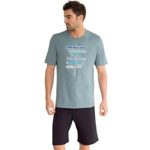 Пижама с шортами, короткие рукава, рисунок. ATHENA. Цвет: красный/темно-синий,серый/ антрацит