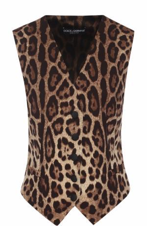 Приталенный жилет с леопардовым принтом Dolce & Gabbana. Цвет: леопардовый