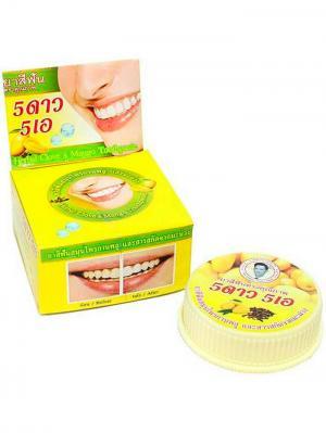 Травяная отбеливающая зубная паста с экстрактом Манго 5 STAR COSMETIC. Цвет: желтый