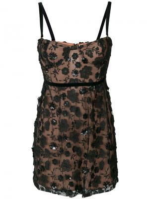 Декорированное кружевное платье For Love And Lemons. Цвет: чёрный